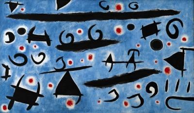 joan miro la danse des personnages oiseaux sur ciel bleu étincelles